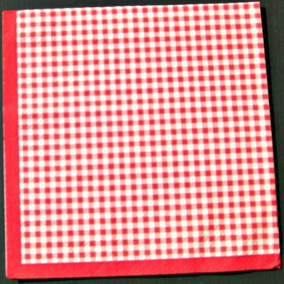 Red Gingham Napkin Serviette for Decoupage. French 3 ply dinner napkin for decoupage or craft projects