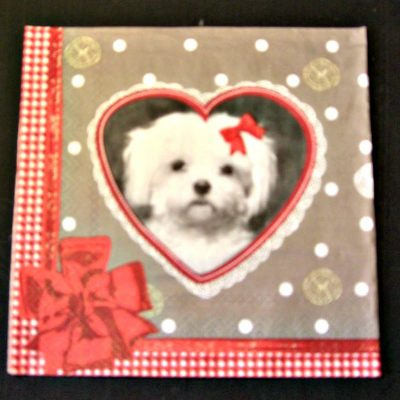 Gingham Edged White Dog in Heart Napkin Serviette for Decoupage. French 3 ply dinner napkin for decoupage or craft projects
