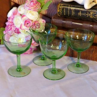 Four 1950s Green Sherry Glasses. Made in Slovakia