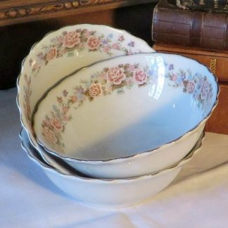 Three Floral China Dessert Bowls. Pretty little transfer printed china dessert bowls with a gold gilded edge
