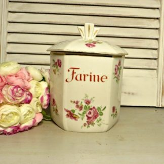 French Art Deco Floral Farine/Flour Kitchen Jar.  Dating from around the 1930s/40s this lovely French kitchen flour jar would make a beautiful addition to your kitchen
