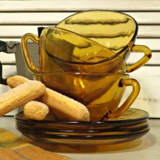 Three Amber Vereco Glass Cafe au Lait Cups and Saucers.  A set of 3 square glass 70s large coffee cups and saucers