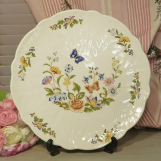 Aynsley 'Cottage Garden' Bread and Butter Plate.  A lovely fluted bread and butter plate in Aynsley's beautiful Cottage Garden design and decorated with beautiful flowers and butterflies