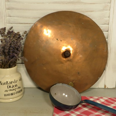 Large French copper Pan Lid. An old copper lid that can be used for it's original purpose or as decor for the kitchen or garden.