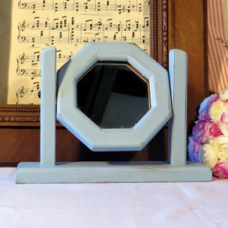 Vanity/Dressing Table Mirror. A sweet little vanity/dressing table mirror painted in a pale blue and slightly 'shabbied' around the edges