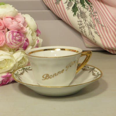 'Bonne Fete' Demitasse Porcelain Coffee Cup and Saucer. A pretty Porcelain cup and saucer ideal for a birthday gift.