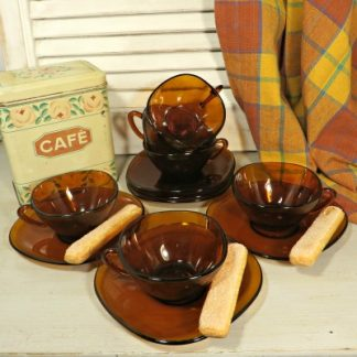 1970s French Vereco 6 Boxed Dark Amber 'Teinte Havane' Glass Coffee Cups and Saucers.  Still in the original box