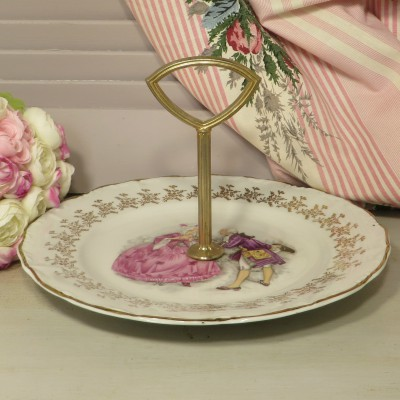 French Porcelain Cake Plate/Stand Digoin - Limoges Style. A beautiful single cake plate/stand with a lovely image of an 18th century couple in the Limoges style.