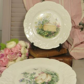 French Porcelain Cheese Plates. A set of 5 porcelain cheese plates by CNP France. Each plate has embossed ivy leaves around the edge and a transfer print in the centre