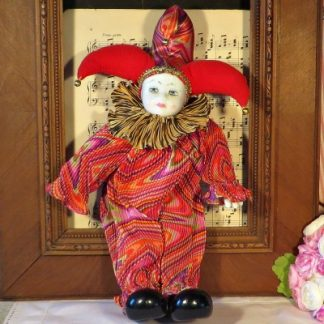 Clown Jester Doll with Porcelain Face
