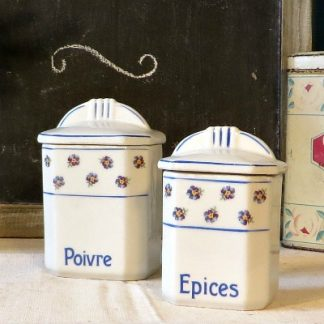 Art Deco French Floral Poivre & Epices Kitchen Jars.  Dating from around the 1930s/40s these lovely little French  pepper and spice jars would make a beautiful addition to your kitchen