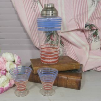 Art Deco Glass Cocktail Shaker and Two Shot Glasses.  Clear glass Deco cocktail shaker and glasses with blue