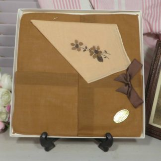Box Set of 1970s Ladies Handkerchiefs  Boxed set comprising two tan and one beige Ladies cotton handkerchiefs.