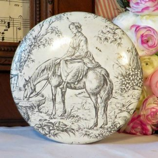 Toile de Jouy Metal Tin Canister.  A pretty cream and grey tin decorated with a toile de jouy design.