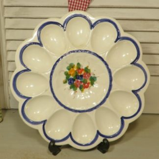 White and Blue Fienance Egg Mayonnaise hors d'oeuvres Dish. A sweet dish for serving egg mayonnaise or deviledeggs.