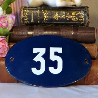 Traditional Blue French Enamel Vintage House Number 35.  Traditional French enamel house number.