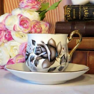 Everlasting Rose Royal Imperial China Demi Tasse Coffee Espresso Cup and Saucer Duo. Mid century fine bone china coffee cup and saucer made by Royal Imperial in the 'Everlasting Rose' design