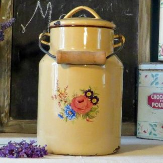 Cream Floral French Enamel Billy Can Milk Churn Pail.   A sweet cream billy can decorated with a bouquet of flowers on the front and reverse.  The can has a wooden handle and could be used for flowers