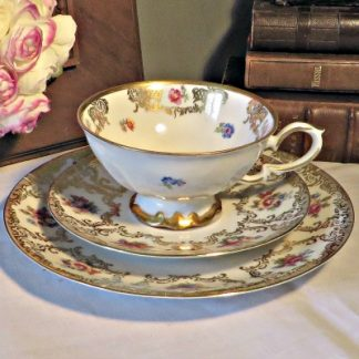 Bavarian Porcelain Gold and Floral Tea Trio.  A beautiful tea cup
