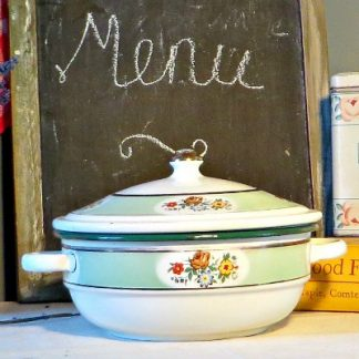 Floral French Vintage Enamelware Casserole.  A true shabby chic style piece which looks wonderful as decoration or for cooking