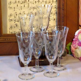 Set of 6 Engraved French Champagne Flutes.  A lovely set of six engraved French glass champagne flutes for your vintage table