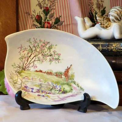 H J Wood Ltd Hand Painted Dish by A Miller Dated 1961.  A beautiful dish