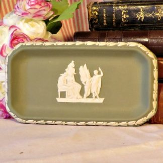 Oblong Green Wedgewood Jasperware Trinket Dish.  A lovely trinket dish in green Jasperware by Wedgewood.  This iconic neo classical design is so familiar to all of us who love Wedgewood.