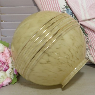 Round Art Deco Marbled Glass Light Shade. A beautiful shade in a yellow 'marbled' glass.