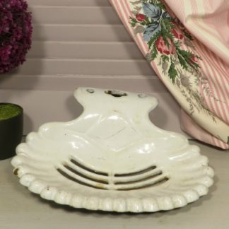Large White French Wall Mounted Enamel Soap Dish.  An extra large enamel soap dish which could be used in your bathroom