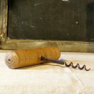 Vintage French Corkscrew.  A lovely old French corkscrew with large wooden handle.