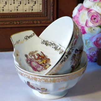 Limoges Moi et Toi Cafe au Lait Breakfast Set decorated with charming 18th century courtship scenes.  There are two café au lait/chocolate chaud bowls and a scalloped shape dish for butter or jam.  A lovely engagement or wedding gift
