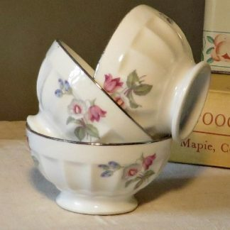 Three mini porcelain vintage French café au lait bowls