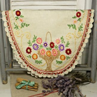 Hand Embroidered French Linen Oval Tray Cloth Table Runner.  A pretty floral tray cloth or table runner for your vintage home