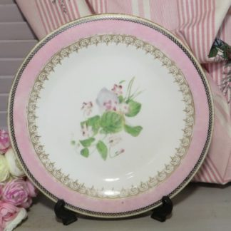 Pink Floral Plate.  A sweet pink rimmed plate with gold edging and a pink floral bouquet in the center.  A lovely little plate for your dresser or wall