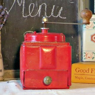 Red Vintage French Coffee Grinder. A traditional French Coffee Grinder in a cheerful red to brighten your vintage kitchen.