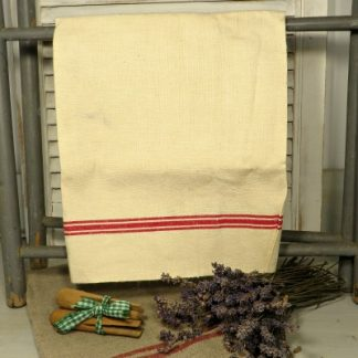 Lightweight Linen Vintage French Torchon with Three Red Stripes Tea Towel Dish Cloth. A classic vintage French Torchon