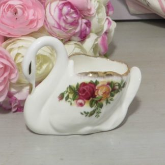Royal Albert Old Country Roses Swan.  A pretty china swan from the popular Old Country Roses collection by Royal Albert.