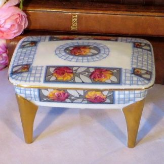 Limoges Table Trinket Box. An unusual Limoges trinket box in the form for a table. This would look lovely on your dressing table for keeping rings and earrings sage