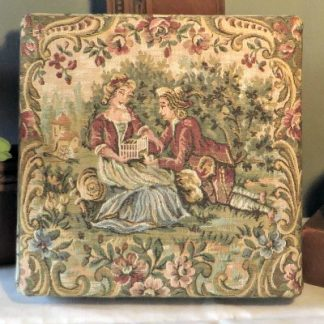 Tapestry Silk Lined Vintage French Chocolate Box. Stunning silk lined tapestry vintage chocolate box. Decorated with 18th century style images of a courting couple with bird cage