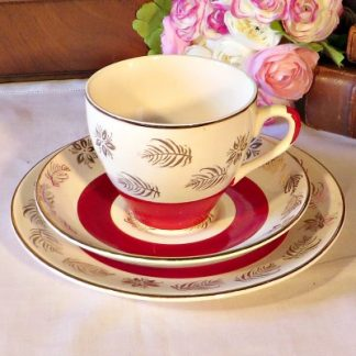 Washington Pottery Red and Gold Tea Trio.  A pretty red