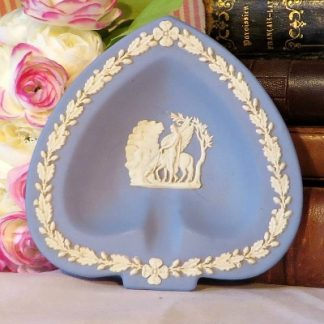 Club Shaped Wedgewood Blue Jasperware Pin Dish/Ash Tray.  A lovely pin dish in blue Jasperware by Wedgewood.  This iconic neo classical design is so familiar to all of us who love Wedgewood.