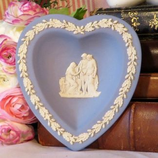 Heart Shaped Wedgewood Blue Jasperware Pin Dish. A lovely pin dish in blue Jasperware by Wedgewood. This iconic neo classical design is so familiar to all of us who love Wedgewood.