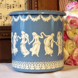 Wedgewood Jasperware Style Tin Canister. A pretty tin in the style of Wedgewood Jasperware with female Grecian dancer and acanthus leaf  decoration