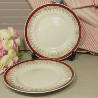 Two Alfred Meakin Glo-White Tea/Side Plates. Pretty white plates with a deep red rim and stunning gilding decoration. Ideal fr your vintage afternoon tea.