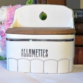 Art Deco French China Allumettes/Match Holder. A lovely traditional French match pot to hang on the wall next to your fireplace or cooker to keep your matches safe and dry.