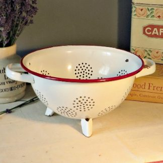 White and Red French Enamel Colander.  White with a red rim