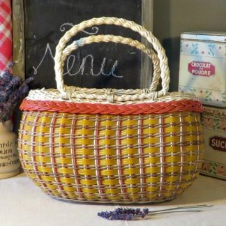 Woven Wicker & Plastic 1960s French Shopping Basket.  A cute French shopping basket which could also be used for vegetables