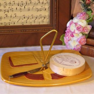 Mid Century French Ceramic Cheese Platter.  A lovely mustard yellow platter with gold tone detachable handle