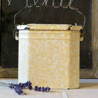 Marbled yellow French Enamel Lunch Tin/Pail.  A lovely marbleware lunch pail in a speckled yellow and white.  This tin could be used for storage in your kitchen or as decoration