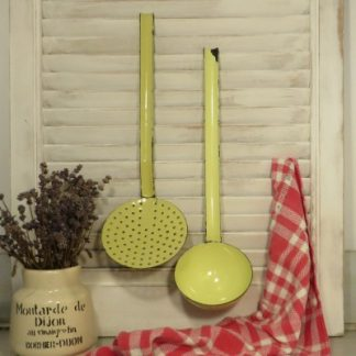 Yellow French Enamel Ladle and Strainer.  Quintessential French enamel kitchen utensils to add a splash of colour to your vintage kitchen.